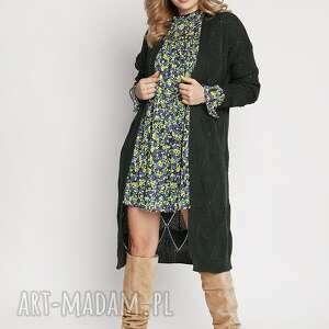 Ażurowy zielony płaszczyk, pa011 ciemna zieleń mkm swetry