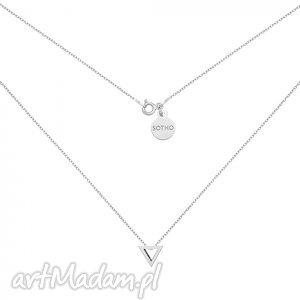 srebrny naszyjnik z przestrzennym trójkątem, zawieszka, srebro