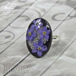 0625/mela pierścionek żywica niezapominajki fiole, pierścionek, owalny