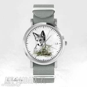 Prezent Zegarek - Lis szary, nato, zegarek, bransoletka, leśny, lis, prezent