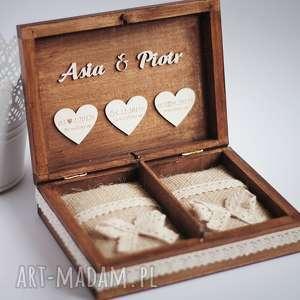 pudełko na obrączki 3 serca, pudełko, obrączki, koronka, serce, drewo, eko