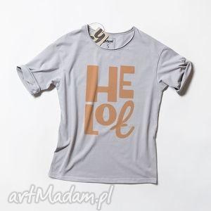 koszulki heloł koszulka z napisem, tshirt, napisy, nadruk, szary, unisex, oversize