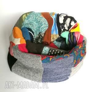 komin damski patchworkowy ciepły zimowy handmade boho, komin, etno, folk
