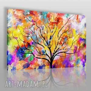 obraz na płótnie - drzewo kolory sztuka art 120x80 cm 74201, drzewo, kolorowy