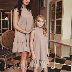 LATORI - Sukienka damska z kolekcji Mama i Córka dla mamy LM41/2 (Beż), komplet