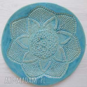 turkusowa koronkowa patera, turkusowy-talerz, koronkowy-talerz, koronkowa-ceramika