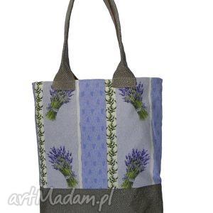 ręczne wykonanie na ramię shopper bag lawenda w oliwkach