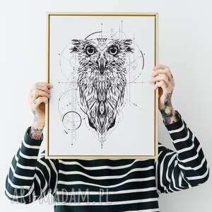 plakat sowa 50x70 cm b2, sowa, plakat, geometria, tatuaż, ilustracja, obraz
