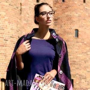 płaszcz wełniany lana capotto rosa, jesienny, krata, zapinany, wełniany, rękaw