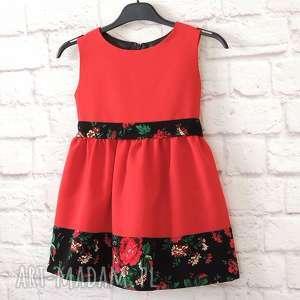 Czerwona sukienka góralska folk dziecięca , sukienka-folkowa, sukienka-dziecięca