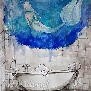 Akwarela z dodatkiem piórka W wannie artystki plastyka Adriany Laube, akwarela