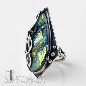 miechunka gynvael srebrny pierścień z kwarcem tytanowym - metaloplastyka