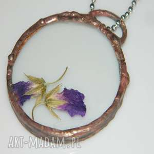 esterka szklany wisior, wisior miedziany, unikalna biżuteria