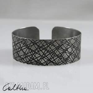 Skosy - metalowa bransoletka, bransoleta, metalowa, srebrna, szeroka