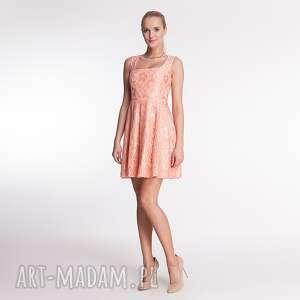 cornelia - sukienka łososiowa, koronka, moda, wiosna, lato, łososiowy, wesele