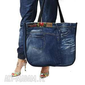 duża torba upcykling tom tailor jeans 51 od majunto, upcykling, jeans