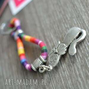 ręcznie zrobione breloki brelok boho rainbow z kotem