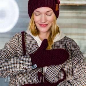 rękawiczki upojne bordo, rękawiczki, na sznurku, ciepłe