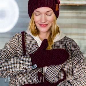 hand-made rękawiczki upojne bordo