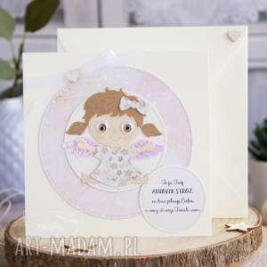 Kartka z uroczym aniołkiem stróżem personalizacja treści