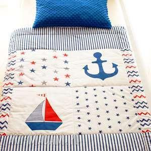 narzuta koŁdra z minky w stylu marynistycznym - statek, marynarski, narzuta, minky