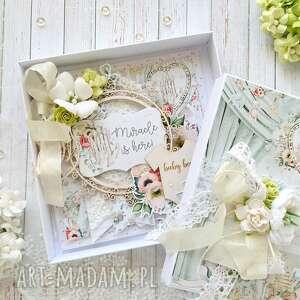 hand-made scrapbooking kartki kartka dla chłopca w ozdobnym pudełku