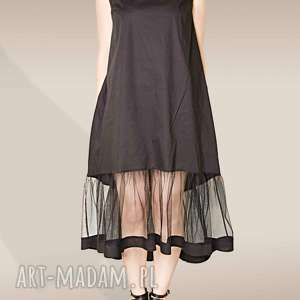 czarna sukienka z tiulową falbaną, tiul, tiulowa, falbana, luźna, letnia, bawełna