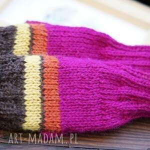 Bezpalczatki #5, rękawiczki, mitenki, bezpalczatki, amarant, paski, alpaka