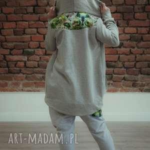bluza dresowa z kapturem jungle - szara, damska, damska