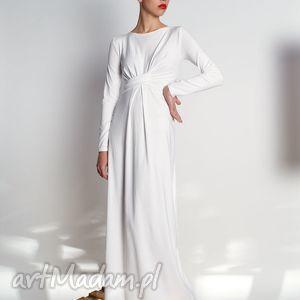 cristina maxi - vanilla długa suknia kolory rozm 34-40, jersey, długa, draperia
