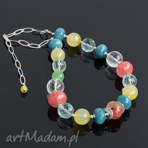 Kolor, kwarc, kryształ, srebro, kolorowy, naszyjnik
