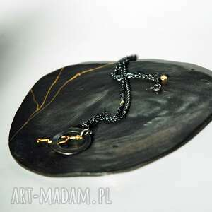 biżuteria talerzyk do biżuterii złota nić czarny, podkładka, biżuterii