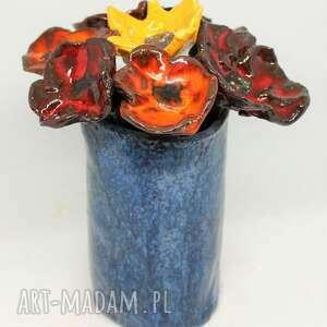 dekoracje piękny wyjątkowy komplet kwiaty ceramiczne i wazon handmade rekodzieło