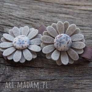 Spinki do włosów kwiatki BLUE, filc, kwiatki, spinki