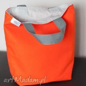 lunch bag by wkml - pomarańczowy - szary w białe kropki, lunch, śniadanie