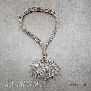 Kryształ górski - naszyjnik lniany, naturalny, przezroczysty, minimalistyczny