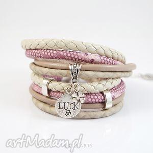 handmade bransoletka - luck fiolet, rzemienie, owijana, koniczynka