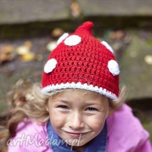 Czapka Muchomor, czapka, ciepło, wiosna, szydełko, włóczka
