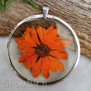 naszyjniki naszyjnik z margerytką w pomarańczowym odcieniu z101, okrągły
