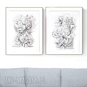 zestaw 2 grafik czarno białych a4 wykonanych ręcznie, kwiaty, elegancki