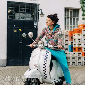 sportowe dres damski - ciao bella, kolorowy dres, we wzory, z bawełny