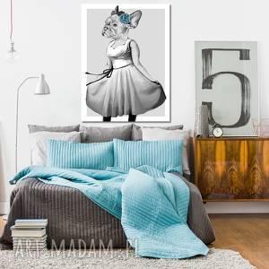 obraz na płotnie - dziewczynka - buldog francuski w sukience - pies 60x80cm