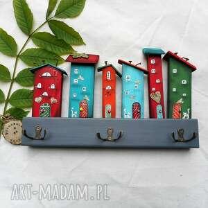 wieszak kolorowe domki nr 1, z drewna, kot koty, do powieszenia, domu