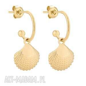 złote kolczyki z muszelkami - półkola, pozłacane, eleganckie