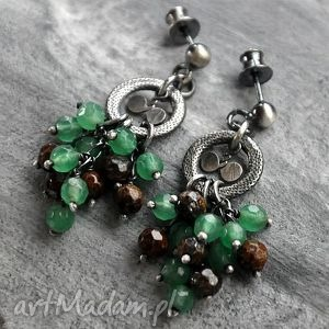bronzyt i awenturyn- oryginalne kolczyki, bronzyt, awenturyn, srebro, oksydowane