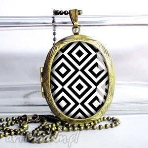 piĘkny medalion otwierany naszyjnik idealny prezent- geo - prezent, czarno, biały