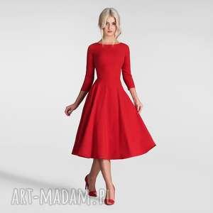 sukienka klara 3/4 total midi czerwień, sukienka, midi, czerwień