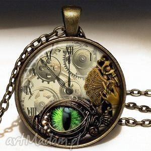 ręcznie zrobione naszyjniki steampunk - duży medalion z łańcuszkiem