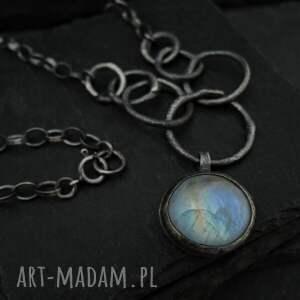 ręcznie zrobione naszyjniki srebrny wisior z kamieniem księżycowym