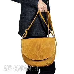 hand-made torebki klasyczna żółta listonoszka z klapką